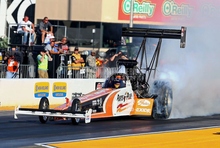 Jul. 26, 2013; Sonoma, CA, USA: NHRA top fuel dragster driver Clay Millican during qualifying for the Sonoma Nationals at Sonoma Raceway. Mandatory Credit: Mark J. Rebilas-