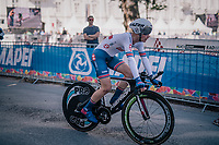 Ben Tullet (GBR)<br /> <br /> post-race battlefield in the finish zone<br /> <br /> MEN JUNIOR INDIVIDUAL TIME TRIAL<br /> Hall-Wattens to Innsbruck: 27.8 km<br /> <br /> UCI 2018 Road World Championships<br /> Innsbruck - Tirol / Austria