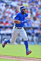 Chicago Cubs right fielder Jason Heyward (22) runs to first during a game against the Atlanta Braves at Turner Field on June 11, 2016 in Atlanta, Georgia. The Cubs defeated the Braves 8-2. (Tony Farlow/Four Seam Images)