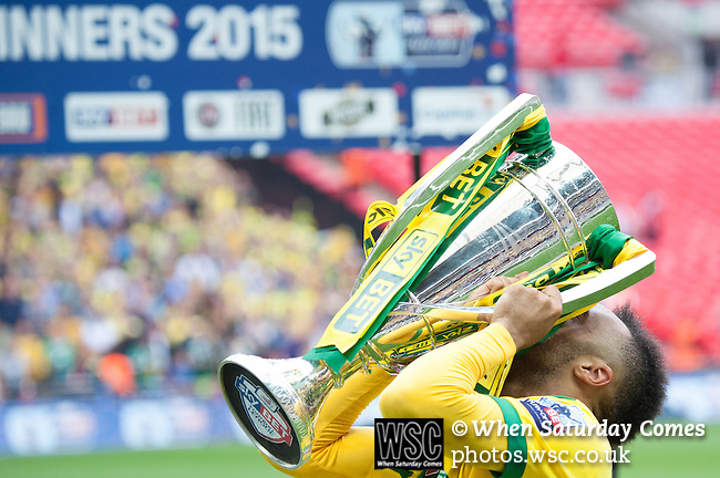 Norwich City 2 Middlesbrough 0, 25/05/2015. Wembley Stadium, Championship Play Off Final. Goalscorer Nathan Redmond celebrates. A match worth £120m to the victors. On the day Norwich City secured an instant return to the Premier League with victory over Middlesbrough in front of 85,656. Photo by Simon Gill.
