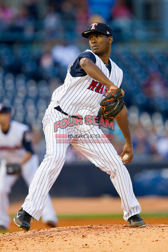 Toledo Mudhens starting pitcher Ramon Garcia (32) in action against the Charlotte Knights at 5/3 Field on May 3, 2013 in Toledo, Ohio.  The Knights defeated the Mudhens 10-2.  (Brian Westerholt/Four Seam Images)