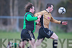 Ballymac Galaxy's Jennie Griffin gets away from Fenit Samphires Cillian O'Shea at Mounthawk park, Tralee on Friday.