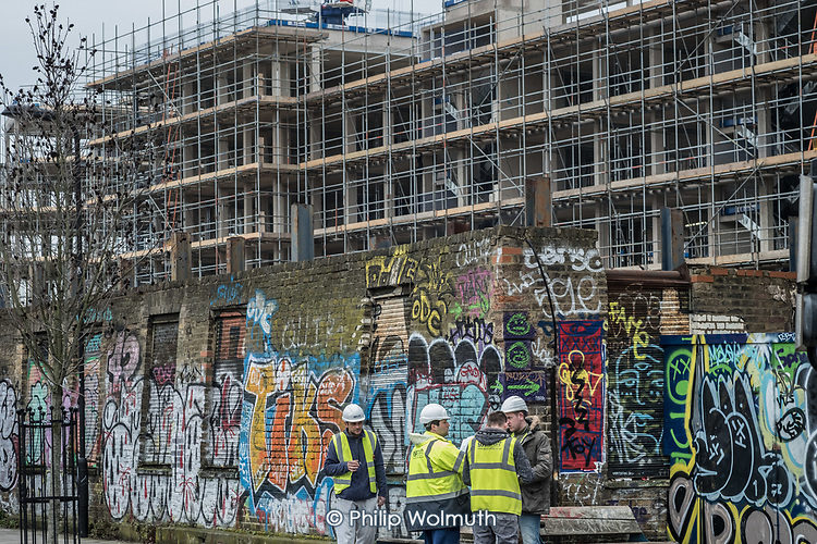 Construction of apartment blocks for private sale under the Help To Buy scheme in Fish Island, Hackney Wick, an area undergoing rapid gentrification.