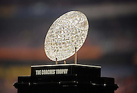 Jan 10, 2011; Glendale, AZ, USA; A view of the Coaches Trophy before the 2011 BCS National Championship game between the Oregon Ducks and the Auburn Tigers at University of Phoenix Stadium.  Mandatory Credit: Mark J. Rebilas-