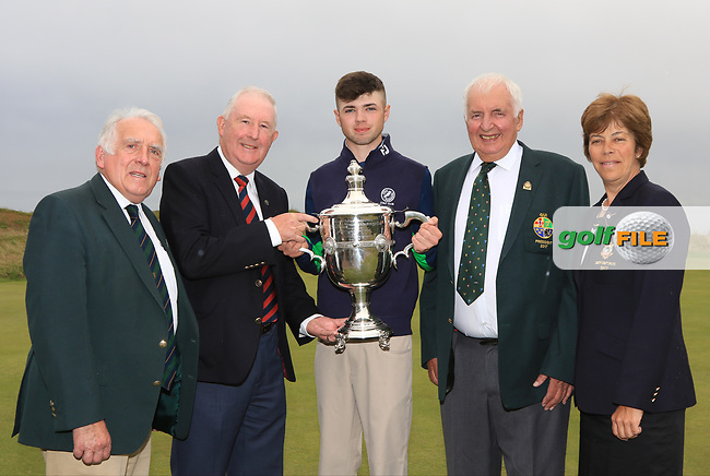 Reece Black presented with the East of Ireland trophy by Harry Collier (Captain, Co Louth Golf Club) - also pictured are John Ferriter (Chairman, Leinster Branch, GUI) and GUI President Peter Sinclair and Lady Captain Mrs Quinn at the East of Ireland Amateur Open Championship at Co. Louth Golf Club in Baltray on Monday 5th June 2017.<br /> Photo: Golffile / Thos Caffrey.<br /> <br /> All photo usage must carry mandatory copyright credit     (&copy; Golffile | Thos Caffrey)
