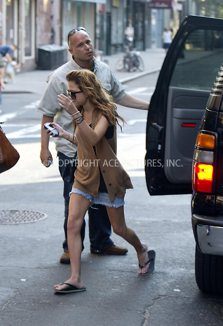 ** EXCLUSIVE ** FEE MUST BE AGREED BEFORE USE **..Mary-Kate Olsen and her personal assistant went on a shopping spree in Lower Manhattan. Olsen was very camera shy when she visited several boutiques around East Houston Street and later was seen trying on silver ballet shoes at Marnie Store in SoHo (BELOW IS A LINK TO AN ARTICLE ABOUT THE SOES http://www.newyorkmetro.com/content/04/wk34/bestbets_040818.htm). Olsen was also seen going to Some Old Rubies Shop at 151 Ludlow Street, and she checked out some cool jackets at Edith and Daha Boutique at 104 Rivington Street. New York, August 23, 2004. Please byline: PHILIP VAUGHAN - ACEPIXS.COM   .. *** ***  ..Ace Pictures, Inc:  ..contact: Alecsey Boldeskul (646) 267-6913 ..Philip Vaughan (646) 769-0430..e-mail: info@acepixs.com