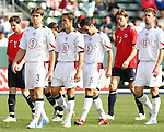 29 January 2006: Todd Dunivant (3),Josh Wolff (16), Kerry Zavagnin (5), and Pat Noonan (13), all U.S. starters, take the field for the start of the game. The United States Men's National Team defeated their counterparts from Norway 5-0 at the Home Depot Center in Carson, California in a men's international friendly soccer game.