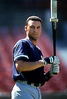 Derek Jeter of the New York Yankees during a game at Anaheim Stadium in Anaheim, California during the 1997 season.(Larry Goren/Four Seam Images)