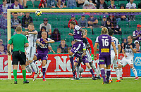 25th March 2018, nib Stadium, Perth, Australia; A League football, Perth Glory versus Melbourne Victory; Adam Taggart of the Perth Glory wins the header in the box during the second half