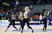 Cheerleader of Real Madrid 2014 November 30 Madrid Spain. ACB LIGA ENDESA 14/15, 9º Match, match played between Real Madrid Baloncesto vs CAI Zaragoza at Palacio de los deportes stadium.
