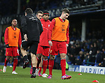 Steven Gerrard of Liverpool warms up for his last Merseyside derby match - Barclays Premier League - Everton vs Liverpool - Goodison Park Stadium  - Liverpool - England - 7th February 2015 - Picture Simon Bellis/Sportimage