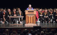 Art history and the visual arts professor Eric Frank receives the Linda and Tod White Teaching Prize. 508 members of the Class of 2020 are welcomed to Occidental College by trustees, faculty and staff in Thorne Hall on Aug. 30, 2016 during Oxy's 129th Convocation ceremony, a tradition that formally marks the start of the academic year and welcomes the new class.<br /> (Photo by Marc Campos, Occidental College Photographer)