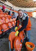 05/03/2019 Volunteers from Blackpool Supporters Trust including the Secretary, Steve Rowland set  to cleaning the Bloomfield Stadium seats and stands ahead Saturdays near sell out fixture against Southend United. <br /> For many fans this will be the first time in four years that they have attended a home fixture following the removal of the Owen Oyston<br /> <br /> pic Phill Heywood