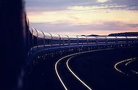 The Blue Train leaving Kimberley at dusk.