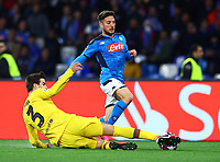 25th February 2020; Stadio San Paolo, Naples, Campania, Italy; UEFA Champions League Football, Napoli versus Barcelona; Dries Mertens ofNapoli is challenged by Gerard Piqué of Barcelona