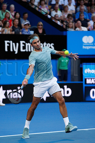 02.01.2017. Perth Arena, Perth, Australia. Mastercard Hopman Cup International Tennis tournament. Roger Federer (SUI plays a fore hand on the base line during bhis match against Dan Evans (GBR). Federer won 6-3, 6-4.