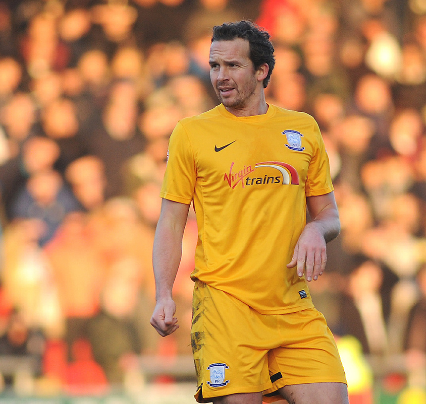 Preston North End's Kevin Davies in action during todays match  <br /> <br /> Photographer Kevin Barnes/CameraSport<br /> <br /> Football - The Football League Sky Bet League One - Crewe Alexandra v Preston North End - Sunday 28th December 2014 - Alexandra Stadium - Crewe<br /> <br /> &copy; CameraSport - 43 Linden Ave. Countesthorpe. Leicester. England. LE8 5PG - Tel: +44 (0) 116 277 4147 - admin@camerasport.com - www.camerasport.com