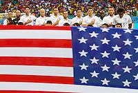 The USA starting XI sing their national anthem