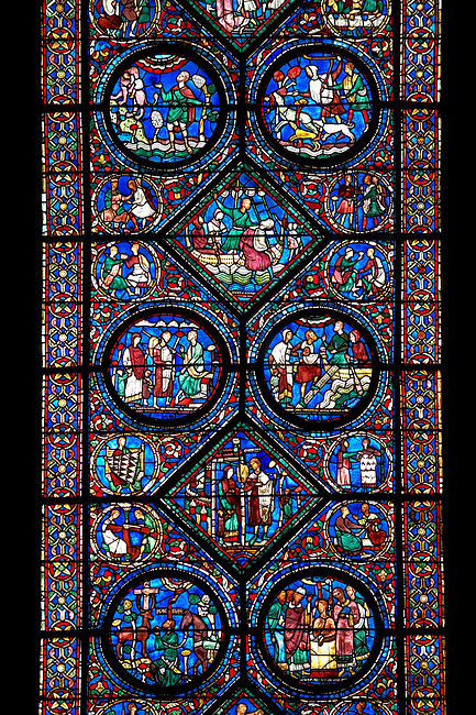 Medieval stained glass Window of the Gothic Cathedral of Chartres, France - dedicated to the life of Eustace . A UNESCO World Heritage Site.