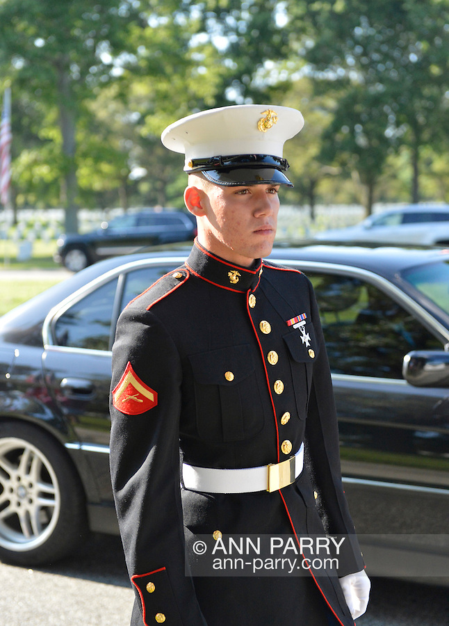 Aug. 18, 2012 - Farmingdale, New York, U.S.: Marine walking along cars taking family of Marine Lance Corporal Greg Buckley Jr, 21 - the Oceanside native killed in Afghanistan 9 days earlier -  to his burial ceremony at Long Island National Cemetery.