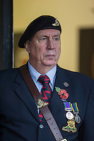 A military veteran waits to take the field ahead of the Sky Bet League 2 match between Newport County and Carlisle United at Rodney Parade, Newport, Wales on 12 November 2016. Photo by Mark  Hawkins.