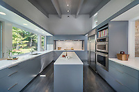 A contemporary, minimal kitchen with grey blue units and a wood floor.