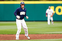 Spencer Barnett (2) of the Oral Roberts Golden Eagles takes a lead off of second base during a game against the Missouri State Bears on March 27, 2011 at Hammons Field in Springfield, Missouri.  Photo By David Welker/Four Seam Images