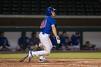 AZL Cubs 1 center fielder Dalton Hurd (30) follows through on his swing during an Arizona League game against the AZL Reds at Sloan Park on July 13, 2018 in Mesa, Arizona. The AZL Cubs 1 defeated the AZL Reds 4-1. (Zachary Lucy/Four Seam Images)