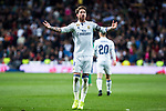 Sergio Ramos of Real Madrid celebrates after scoring a goal during the match of Spanish La Liga between Real Madrid and Real Betis at  Santiago Bernabeu Stadium in Madrid, Spain. March 12, 2017. (ALTERPHOTOS / Rodrigo Jimenez)