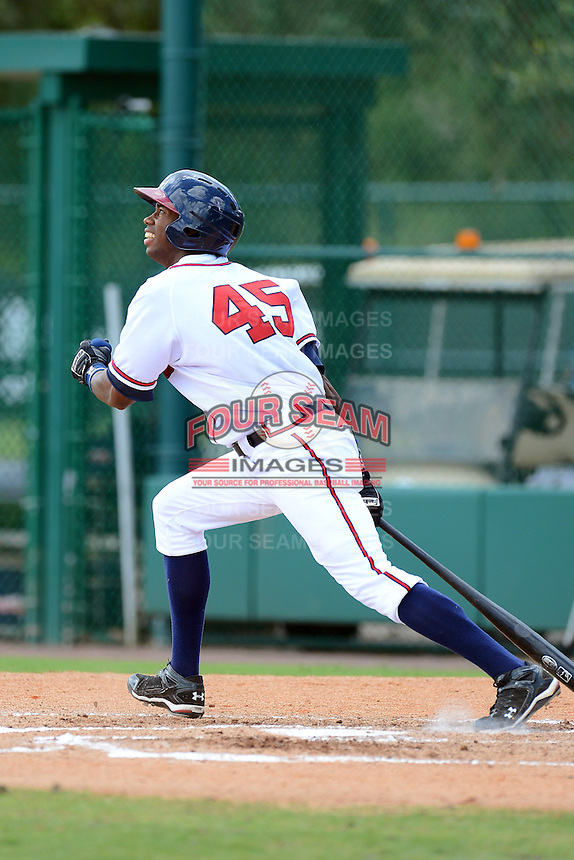 GCL Braves designated hitter Fernelys Sanchez (45) during a game against the GCL Blue Jays on July 15, 2013 at Disney's Wide World of Sport in Orlando, Florida.  The game was called in the 4th inning due to rain storms with the Braves leading 5-0.  (Mike Janes/Four Seam Images)