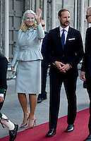 TRONDHEIM, NORWAY - JUNE 23:  Crown Princess Mette-Marit, and Crown Prince Haakon of Norway attend a service at Nidaros Cathedral on a visit to Trondheim, during the King and Queen of Norway's Silver Jubilee Tour, on June 23, 2016 in Trondheim, Norway.
