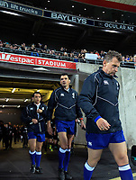 The match officials walk out for the Rugby Championship match between the New Zealand All Blacks and South Africa Springboks at Westpac Stadium in Wellington, New Zealand on Saturday, 15 September 2018. Photo: Dave Lintott / lintottphoto.co.nz