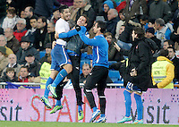 Espanyol's Juan Albin celebrates during La Liga match. December 16, 2012. (ALTERPHOTOS/Alvaro Hernandez)