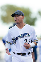 AFL West second baseman Keston Hiura (23), of the Peoria Javelinas and Milwaukee Brewers organization, during player introductions before the Arizona Fall League Fall Stars game at Surprise Stadium on November 3, 2018 in Surprise, Arizona. The AFL West defeated the AFL East 7-6 . (Zachary Lucy/Four Seam Images)