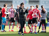 Lincoln City manager Danny Cowley applauds the fans at the final whistle<br /> <br /> Photographer Chris Vaughan/CameraSport<br /> <br /> The EFL Sky Bet League Two - Lincoln City v Cheltenham Town - Saturday 13th April 2019 - Sincil Bank - Lincoln<br /> <br /> World Copyright © 2019 CameraSport. All rights reserved. 43 Linden Ave. Countesthorpe. Leicester. England. LE8 5PG - Tel: +44 (0) 116 277 4147 - admin@camerasport.com - www.camerasport.com