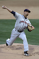 Ruben Alaniz #20 of the Lancaster JetHawks pitches against the Rancho Cucamonga Quakes at The Epicenter on April 11, 2012 in Rancho Cucamonga,California.  Rancho Cucamonga defeated Lancaster 6-5.(Larry Goren/Four Seam Images)
