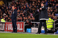 (L-R) Netherlands manager Danny Blind and Wales manager Chris Coleman during the Wales v Netherlands  International Friendly, at Cardiff City Stadium, Cardiff, Wales, United Kingdom, 13 November 2015.