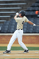 D.J. Poteet (4) of the Wake Forest Demon Deacons follows through on his swing against the Virginia Cavaliers at David F. Couch Ballpark on May 19, 2018 in  Winston-Salem, North Carolina. The Demon Deacons defeated the Cavaliers 18-12. (Brian Westerholt/Four Seam Images)