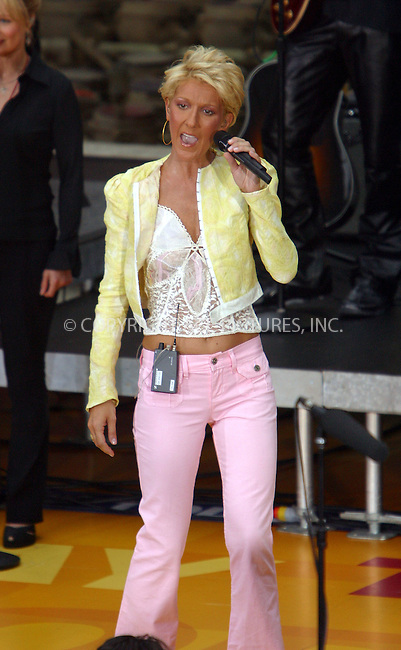 "Canadian songbird Celine Dion is in New York to promote her latest album and to perform on NBC's ""Today"" Show. New York, July 10, 2003. Please byline: NY Photo Press.   ..*PAY-PER-USE*      ....NY Photo Press:  ..phone (646) 267-6913;   ..e-mail: info@nyphotopress.com"