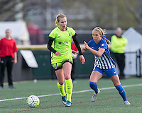 Allston, Massachusetts - April 24, 2015:  In a National Women's Soccer League (NWSL) match, Seattle Reign FC (light green) defeated Boston Breakers (blue), 3-0, at Jordan Field.