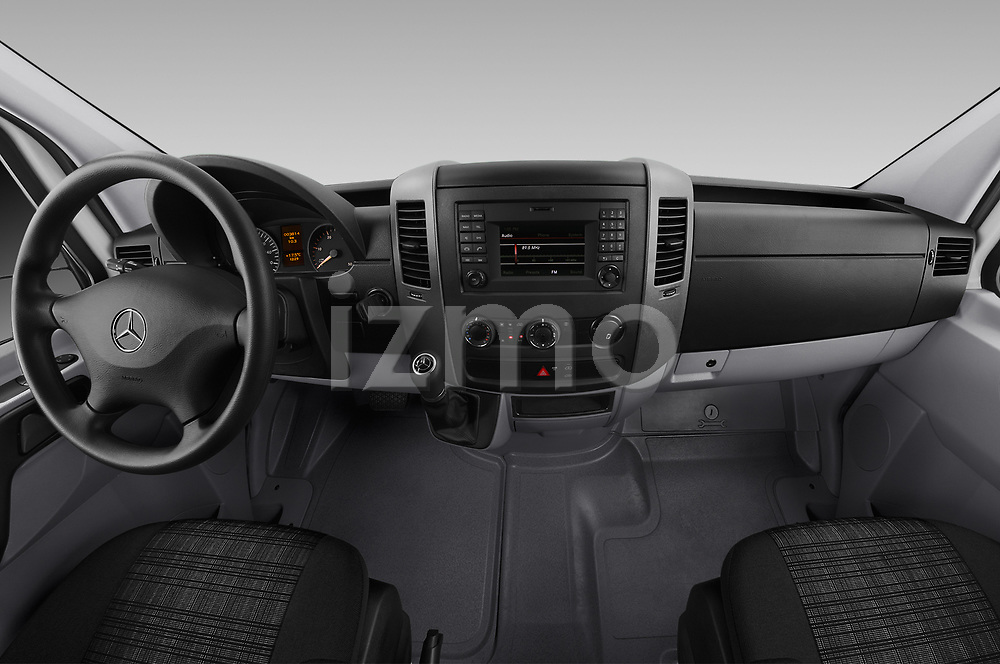 Stock photo of straight dashboard view of 2017 Mercedes Benz Sprinter Base 4 Door Cargo Van