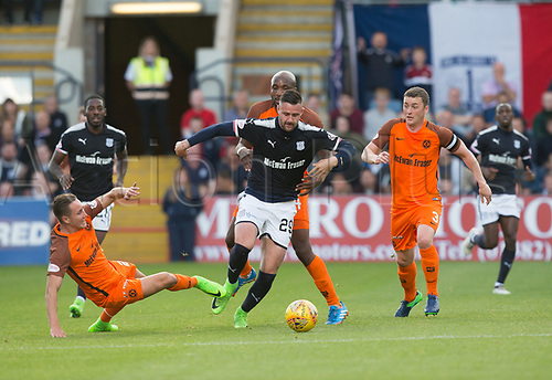 August 9th 2017, Dens Park, Dundee, Scotland; Scottish League Cup Second Round; Dundee versus Dundee United; Dundee's Marcus Haber evades the challenge of Dundee United's Jordie Briels