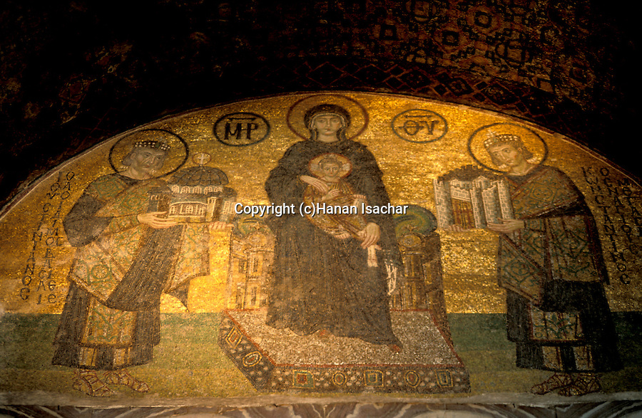 Turkey, Istanbul. The Kariye museum, Byzantine mosaic at the 11th century church of St. Saviour