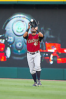 Scranton/Wilkes-Barre RailRiders right fielder Zoilo Almonte (40) ctaches a fly ball during the game against the Charlotte Knights at BB&T Ballpark on July 17, 2014 in Charlotte, North Carolina.  The Knights defeated the RailRiders 9-5.  (Brian Westerholt/Four Seam Images)