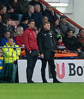 Bournemouth's assistant manager Jason Tindall (left) and manager Bournemouth manager Eddie Howe  look on in frustration as Wolverhampton Wanderers' Raul Jimenez scores his side's second goal<br /> <br /> Photographer David Horton/CameraSport<br /> <br /> The Premier League - Bournemouth v Wolverhampton Wanderers - Saturday 23rd November 2019 - Vitality Stadium - Bournemouth<br /> <br /> World Copyright © 2019 CameraSport. All rights reserved. 43 Linden Ave. Countesthorpe. Leicester. England. LE8 5PG - Tel: +44 (0) 116 277 4147 - admin@camerasport.com - www.camerasport.com
