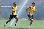 Getafe's Nemanja Maksimovic (l) and Chema Rodriguez during training session. May 25,2020.(ALTERPHOTOS/Acero)