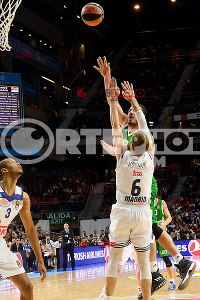 Real Madrid's player Anthony Randolph and Andres Nocioni and Unics Kazan's player Marko Basic during match of Turkish Airlines Euroleague at Barclaycard Center in Madrid. November 24, Spain. 2016. (ALTERPHOTOS/BorjaB.Hojas) //NORTEPHOTO