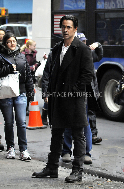 WWW.ACEPIXS.COM....November 8 2012, New York City....Actor Colin Farrell was on the set of the new movie 'Winter's Tale' in Manhattan on November 8 2012 in New York City........By Line: Curtis Means/ACE Pictures......ACE Pictures, Inc...tel: 646 769 0430..Email: info@acepixs.com..www.acepixs.com
