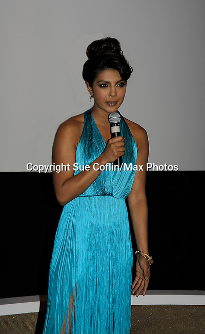 "Actress/singer Priyanka Chopra, actor/singer Nick Cannon celebrating international recording of her world video premier of her new single ""I Can't Make You Love Me"" with a private screening on April 28, 2014 at the Tribeca Grand Hotel, New York City, New York. (Photo by Sue Coflin/Max Photos)"
