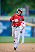 New Hampshire Fisher Cats second baseman Cavan Biggio (6) rounds the bases after hitting a home run in the top of the first inning during the first game of a doubleheader against the Harrisburg Senators on May 13, 2018 at FNB Field in Harrisburg, Pennsylvania.  New Hampshire defeated Harrisburg 6-1.  (Mike Janes/Four Seam Images)